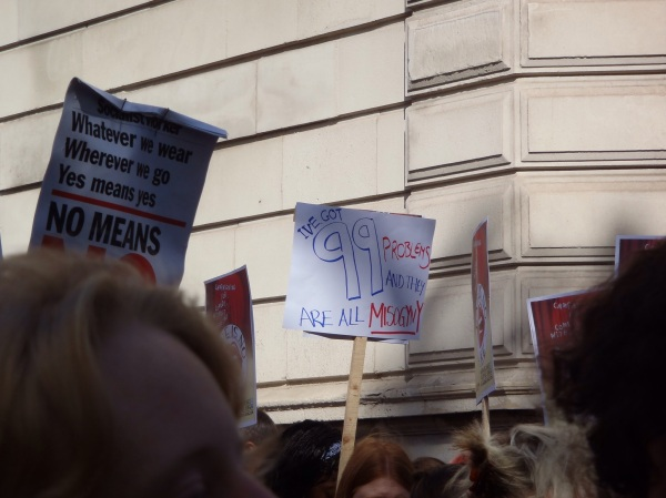 "Slutwalk sign ""I've got 99 problems and they are all misogyny"""