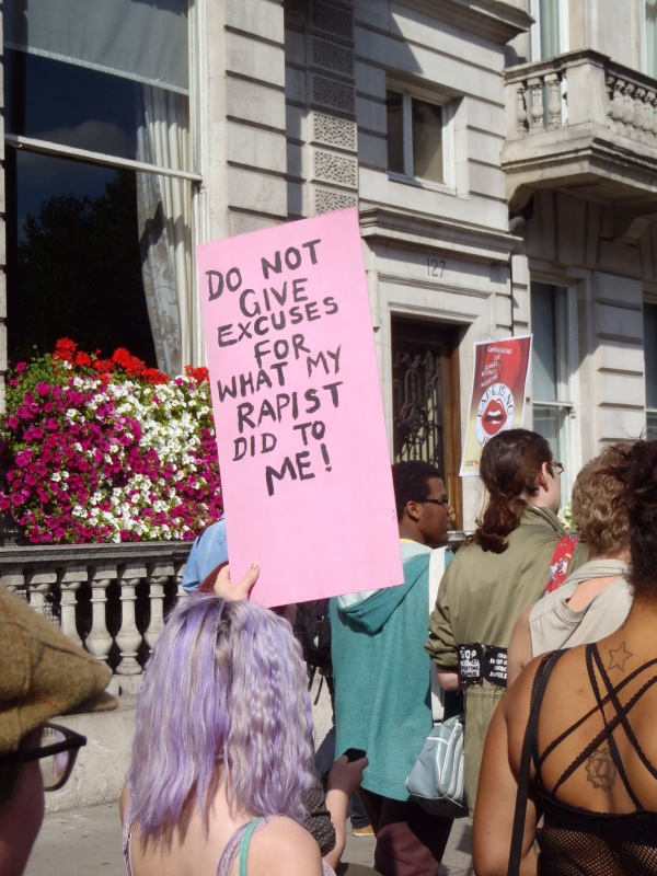 """Slutwalk sign """"Do not give excuses for what my rapist did to me!"""""""